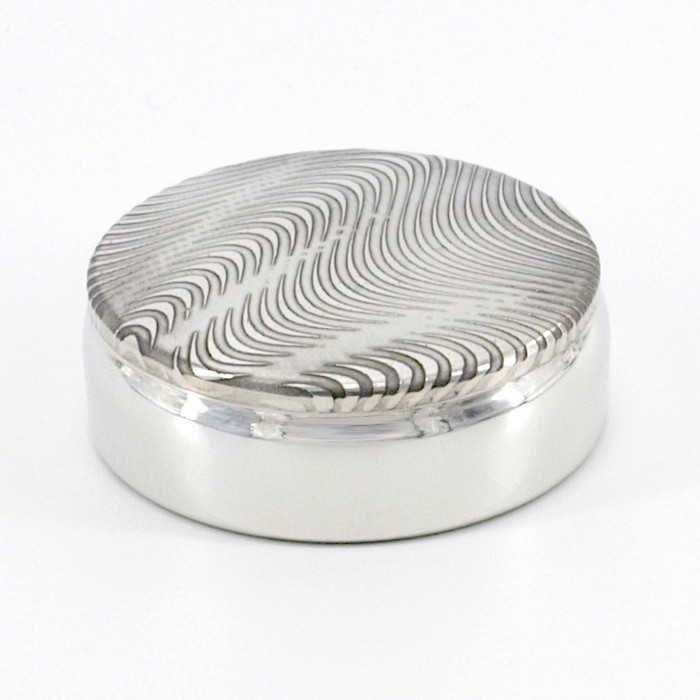 ROZA Etched Pewter Pill Box 6cm Diameter
