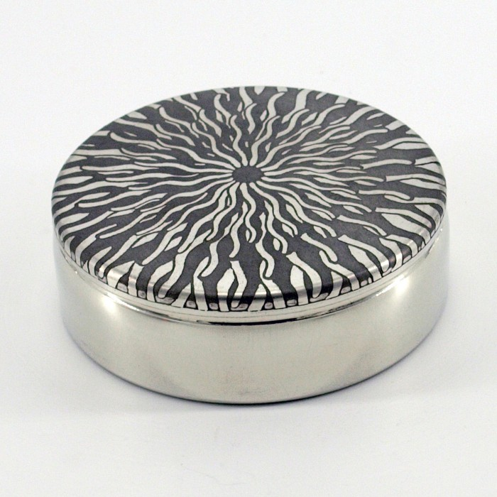 SUNFISH Etched Pewter Box 8cm Diameter