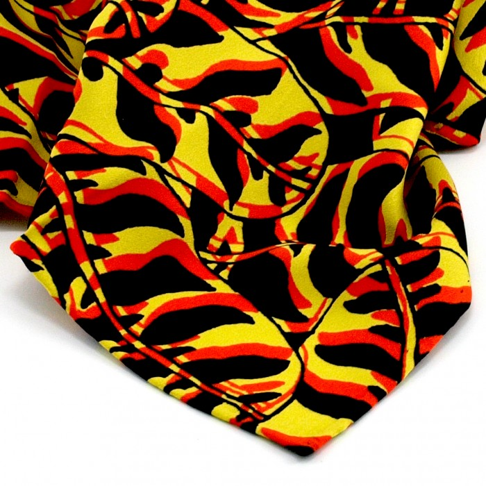 Tigerleaf Silk Bandana 50cm Square Red Yellow