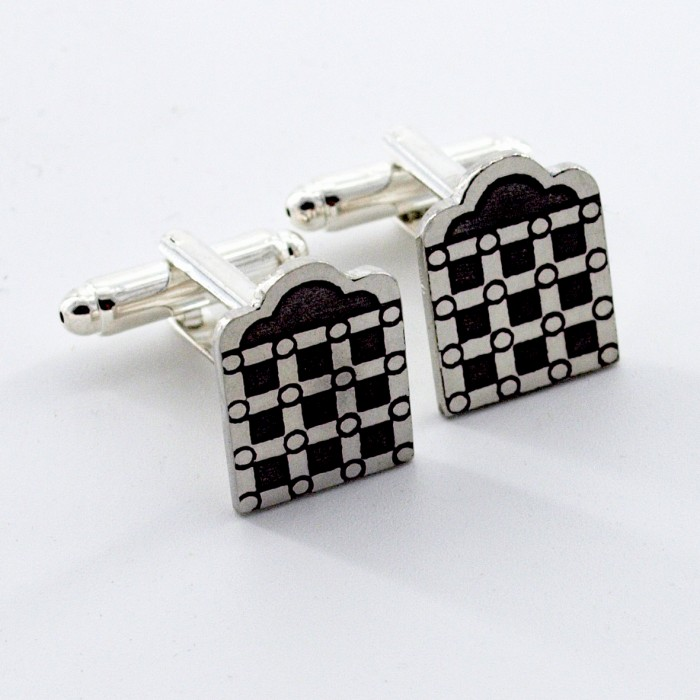 Pewter Strakes Cufflink & Tie/Lapel Pin Set